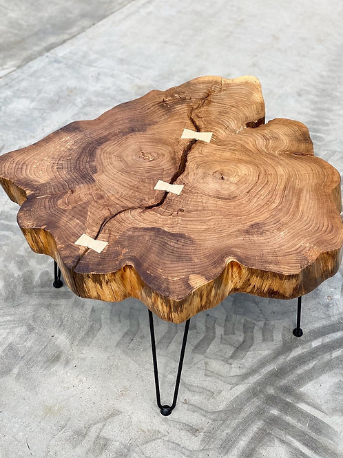 Elm coffee table with white maple bow ties