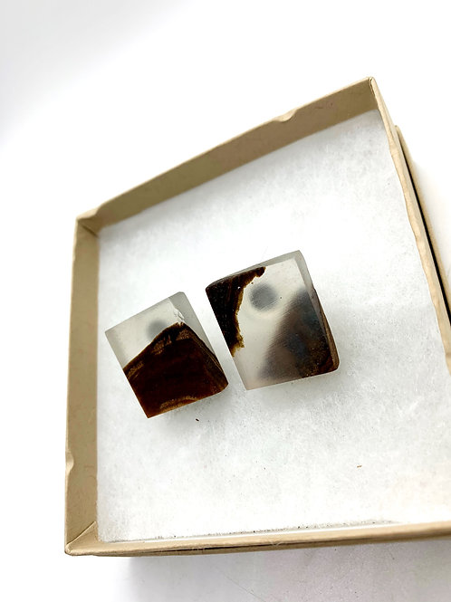 Wood and Epoxy Earrings