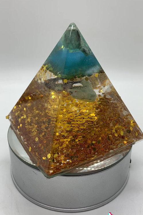 May Birthstone Orgone Pyramid 4 inch