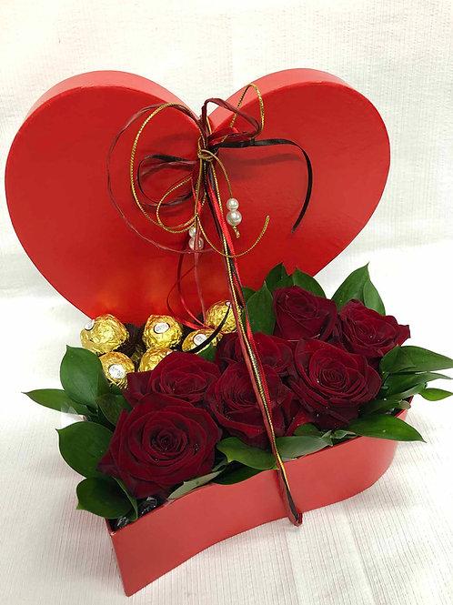 Coração com chocolate