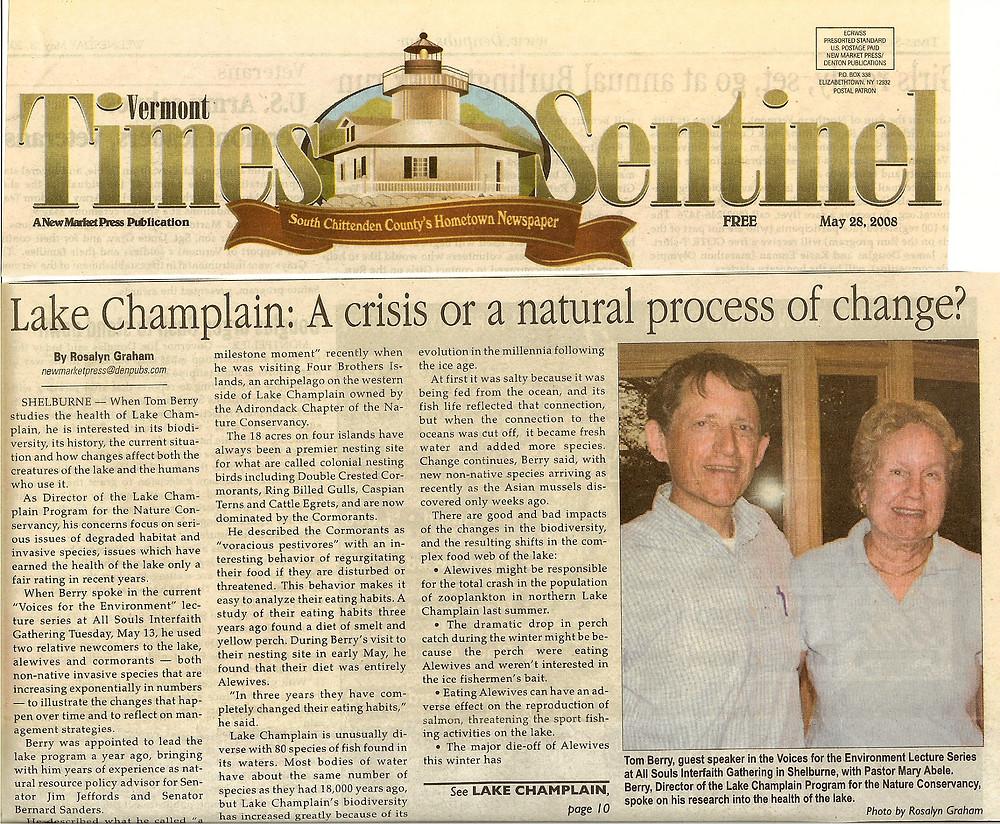 2008.05.28 Lake Champlain, A Crisis or a Natural Process of Change - VT Times Se