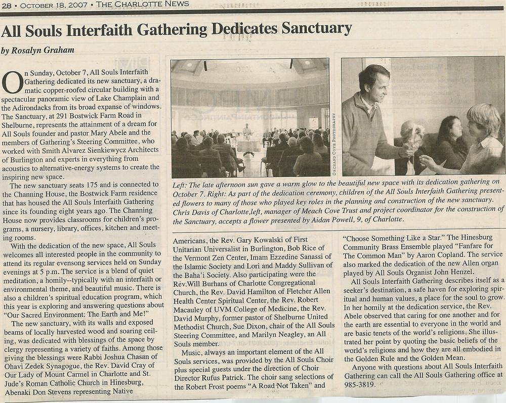 2007.10.18 All Souls Interfaith Gathering Dedicates Sanctuary - Charlotte News.j