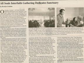All Souls Interfaith Gathering Dedicates Sanctuary - Charlotte News