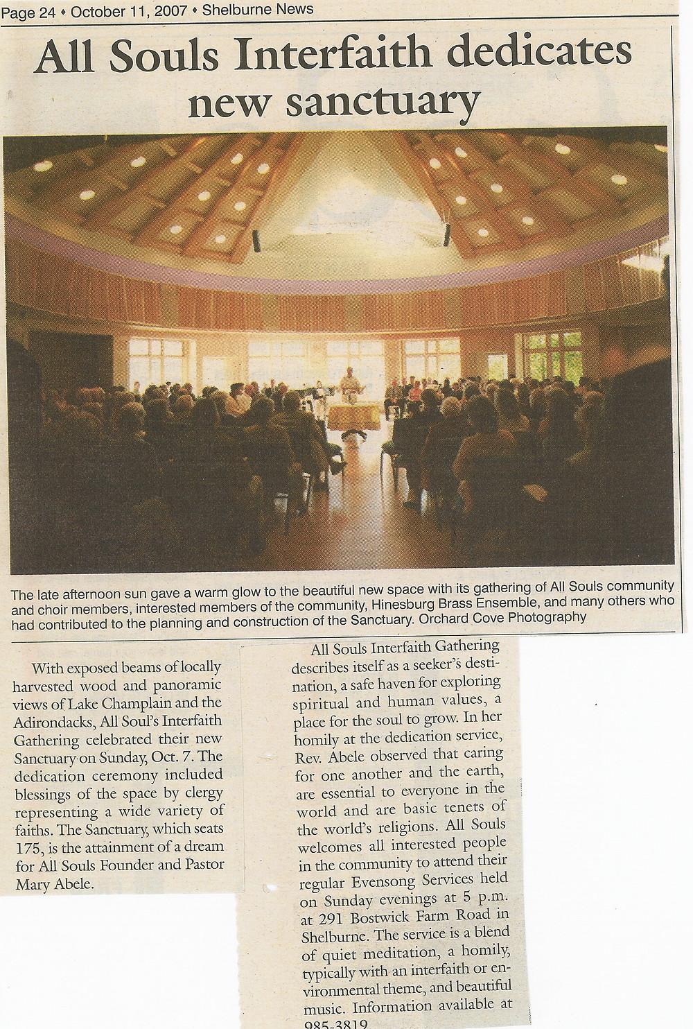 2007.10.11 All Souls Interfaith Dedicates New Sanctuary - Shelburne News.jpg