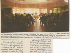 All Souls Interfaith Dedicates New Sanctuary - Shelburne News
