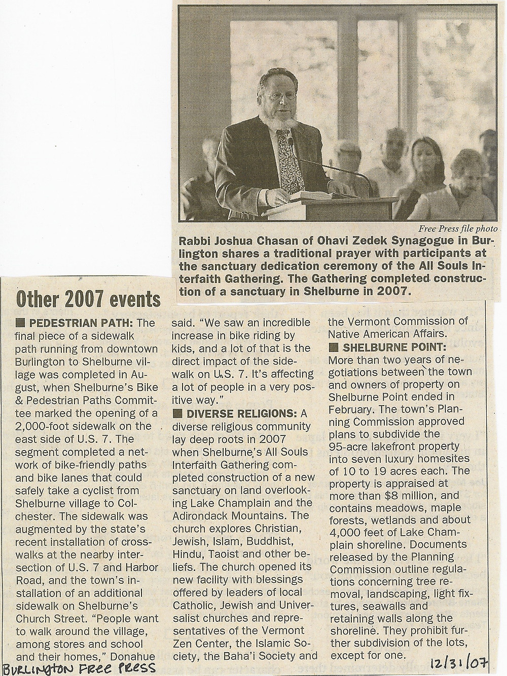 2007.12.31 2007 Other Events, Diverse Religions - Burlington Free Press 12_31_07
