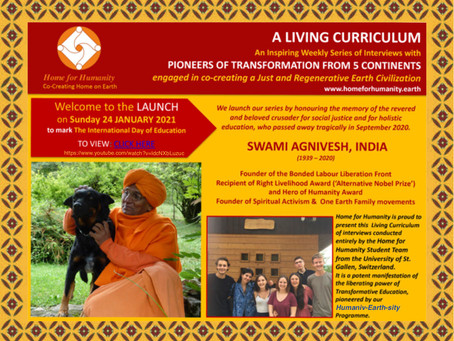 24 January 2021: Launch of the Living Curriculum with Swami Agnivesh's Interview
