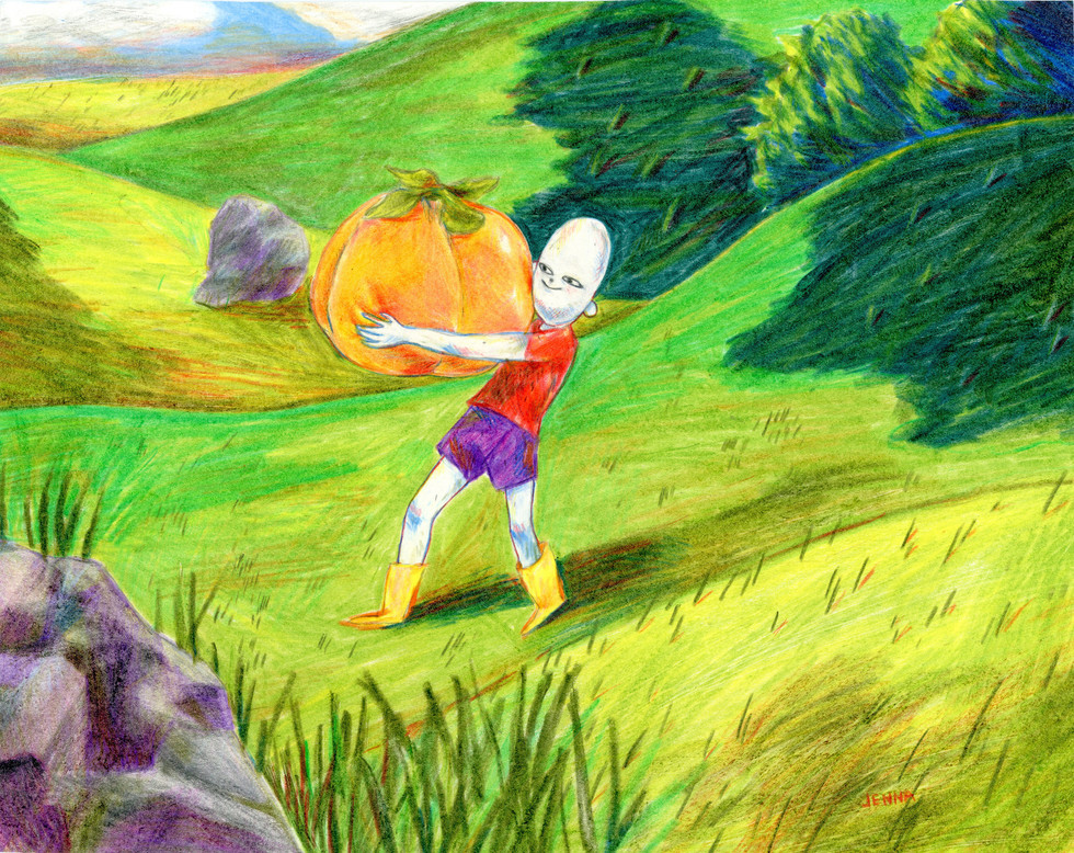 Illustration of a Boy and His Persimmon