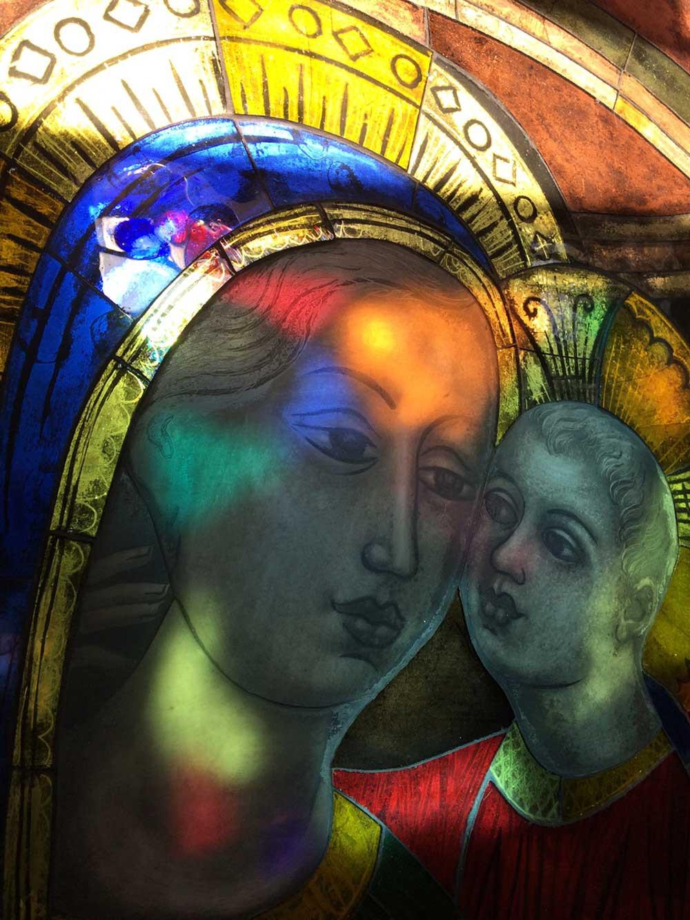 Charles Eyck opalineschilderij met Maria en kind