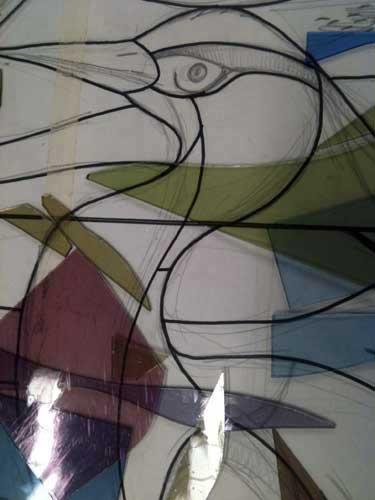 glas snijden op tekening reiger