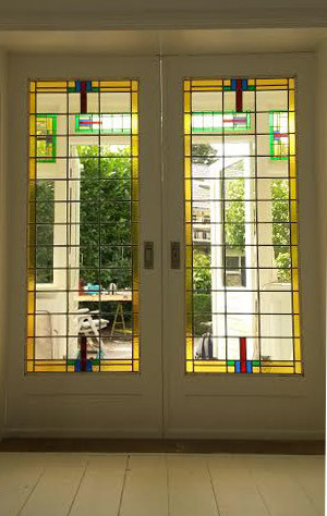 glas-in-lood jaren 30 en-suite ensuite deuren
