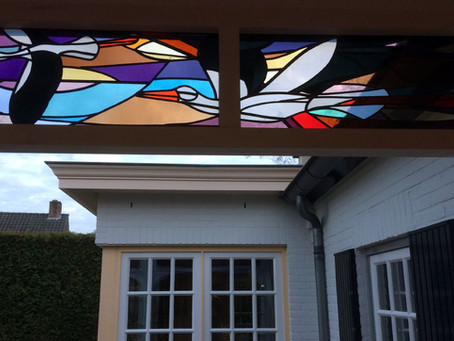Unieke glas in lood ramen voor veranda