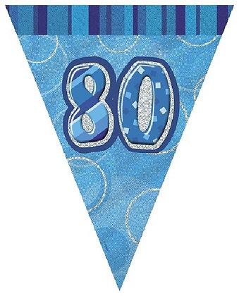 Blue Glitz Age 80 Bunting