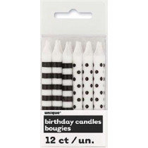 Black Dotty and Striped Candles