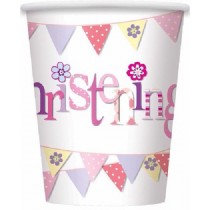 Pink Bunting Christening Paper cups