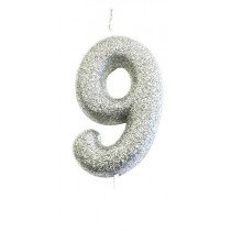 Silver Glitter Number 9 Candle