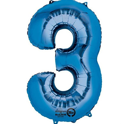 Blue Giant Number 3 Foil Balloon