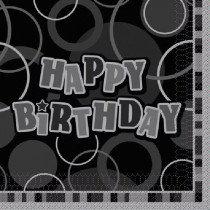 Black Glitz Happy Birthday Napkin