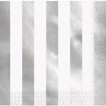 White and Metallic Silver Striped Napkins