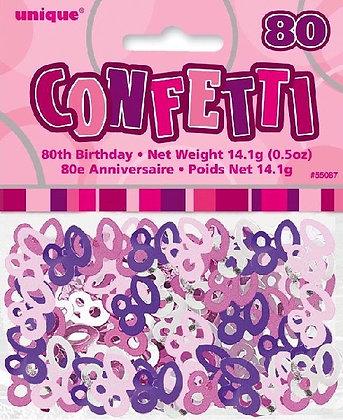 Pink Glitz Age 80 Confetti