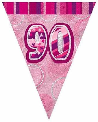 Pink Glitz Age 90 Bunting