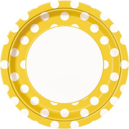 "Yellow Dotty 9"" Paper Plates"