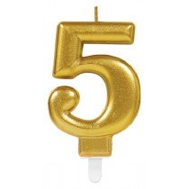Gold Number 5 Candle