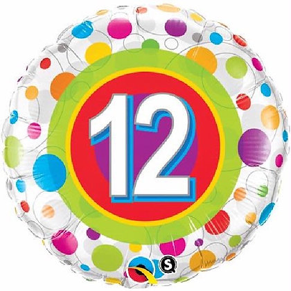 Colourful Dots Age 12 Foil Balloon