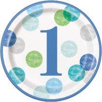 Blue 1st Birthday Plates