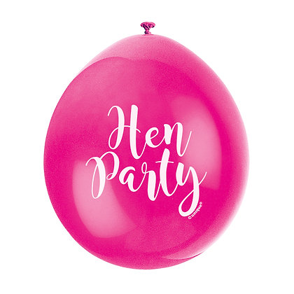 """Hen Party 9"""" Latex Pink and White Balloons"""