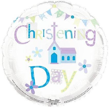 Blue Christening Foil Balloon