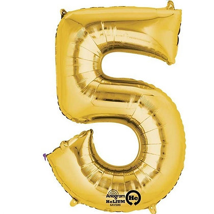 Gold Giant Number 5 Foil Balloon