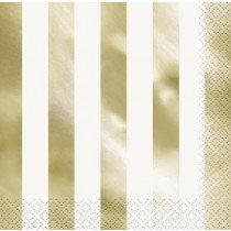 White and Metallic Gold Striped Napkins