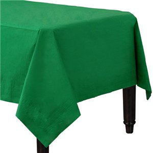 Emerald Green Plastic-Lined Paper Tablecover