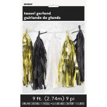 Black, Gold and White Tassel Garland