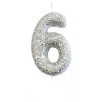 Silver Glitter Number 6 Candle