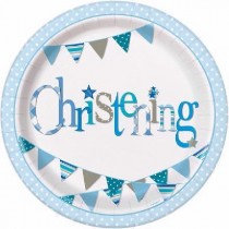 Blue Bunting Christening Paper Plates