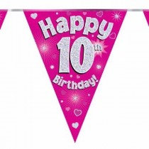 Pink Age 10 Bunting