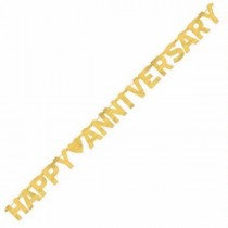 Gold Happy Anniversary Letter Banner