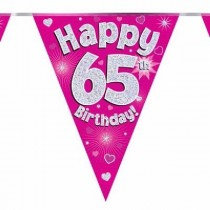 Pink Age 65 Flag Bunting