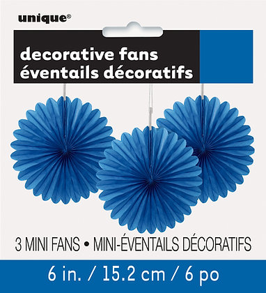 "Royal Blue 6"" Mini Paper Fans"