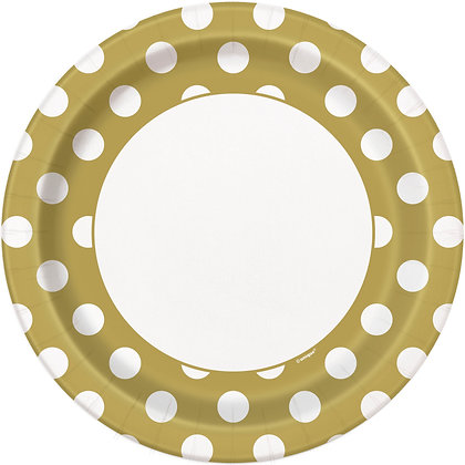 """Gold Dotty 9"""" Paper Plates"""
