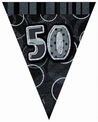 Black Glitz Age 50 Bunting