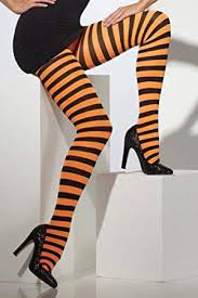 Adult Black and Orange Striped Tights