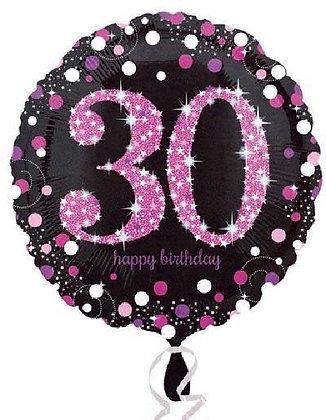 Pink Sparkle Age 30 Foil Balloon