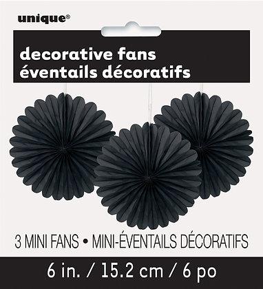 """Black 6"""" Mini Paper Fans"""