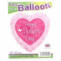 Butterfly Heart Mothers Day Std Foil Balloon