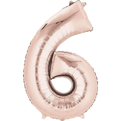 Rose Gold Giant Number 6 Foil Balloon