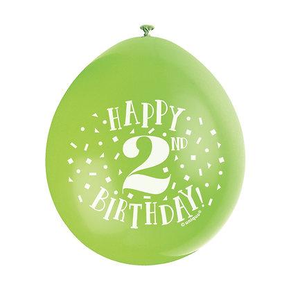 "Age 2 9"" Latex Multi Coloured Balloons"