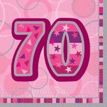 Pink Glitz Age 70 Napkin